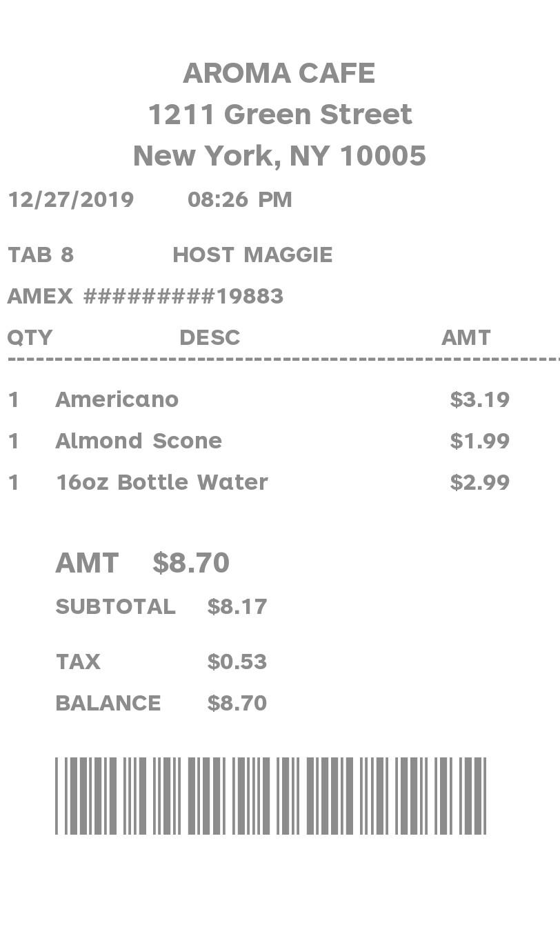 Itemized Barcode Receipt receipt