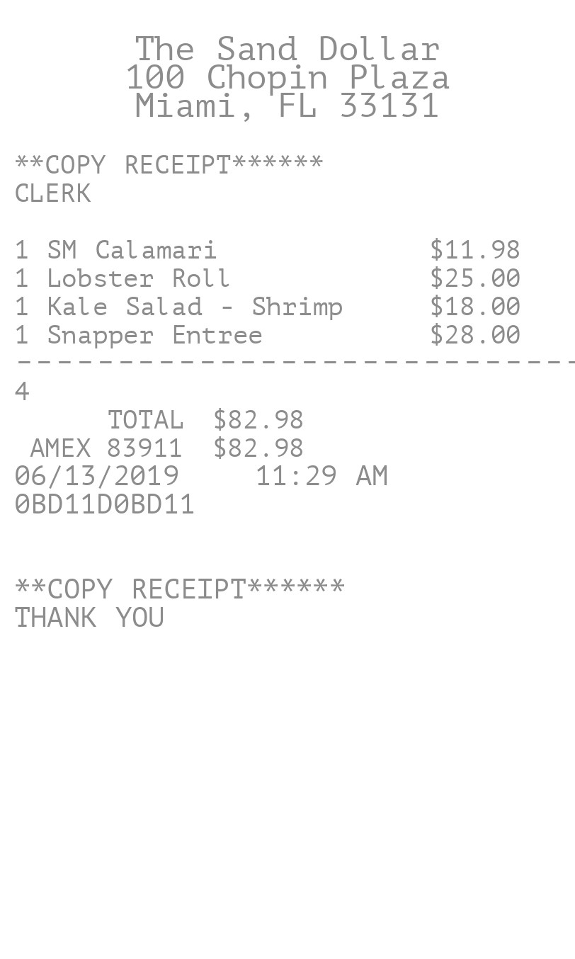 Itemized Restaurant Receipt receipt