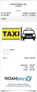 Taxi receipt for taxi, cab or limo service