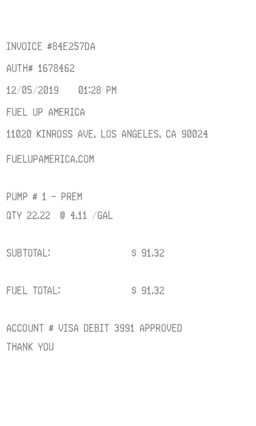 Modern Gas Receipt receipt