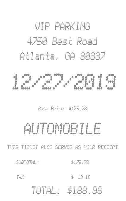 Parking Receipt receipt