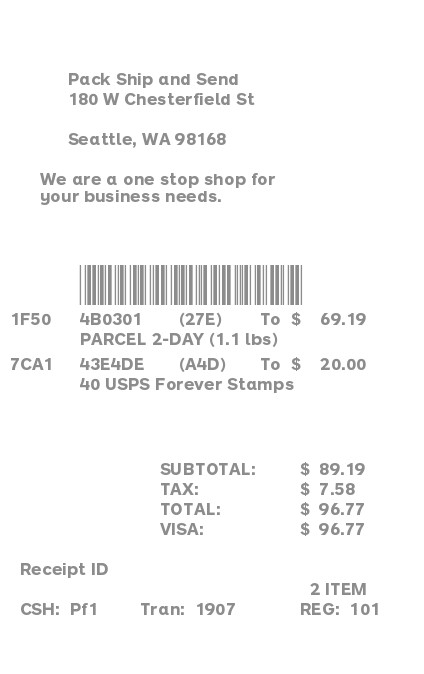 Shipping Store Receipt receipt