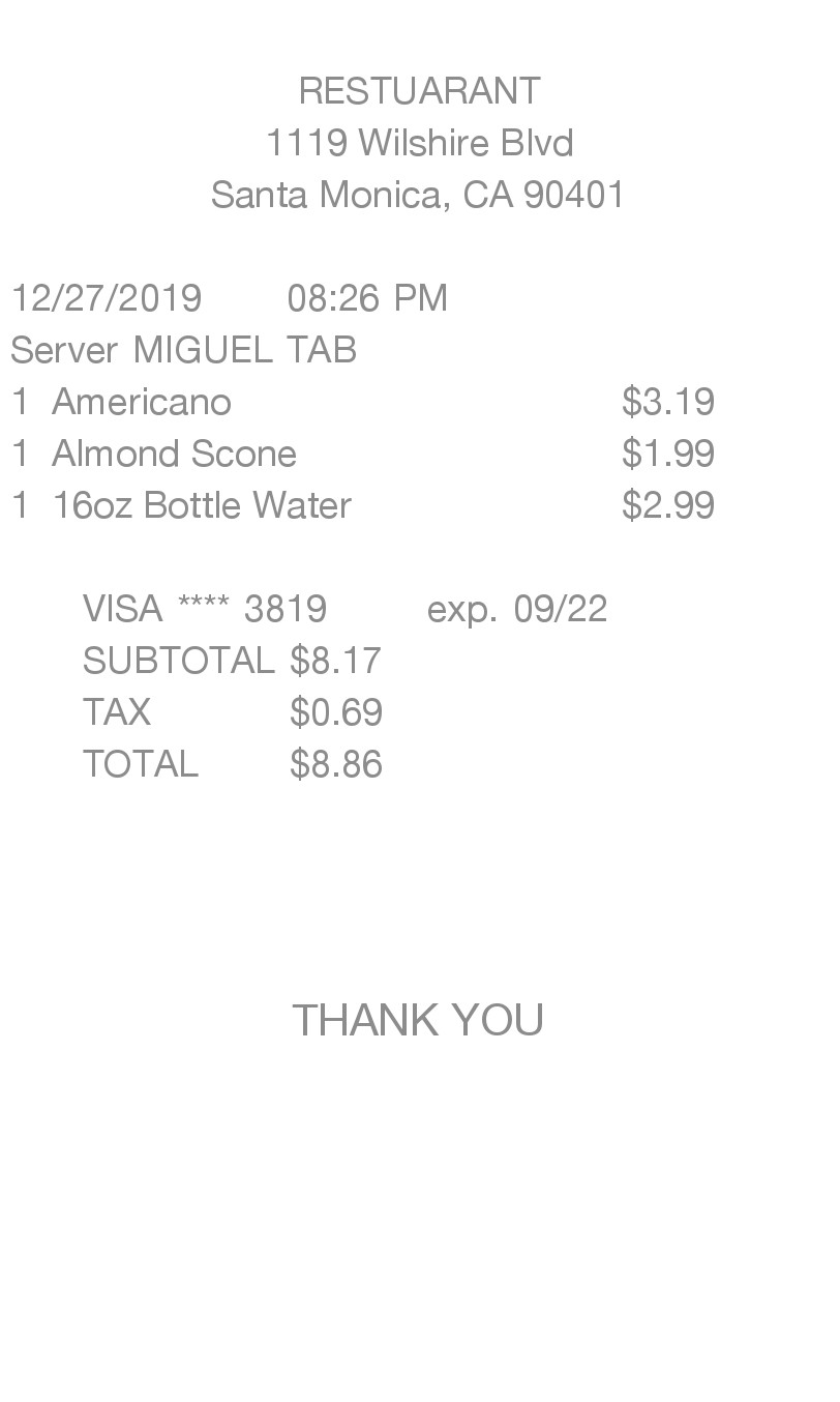 Standard Itemized receipt