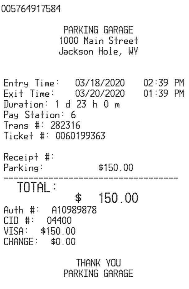 Airport Parking Receipt receipt