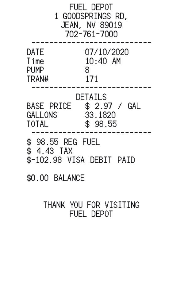 Gas Station Receipt receipt