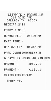 parking garage receipt