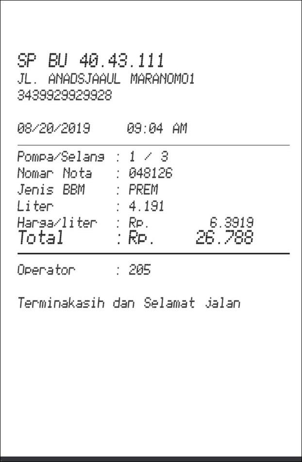 Petrol Fuel Receipt receipt