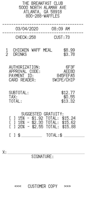 Restaurant Receipt With Tip receipt