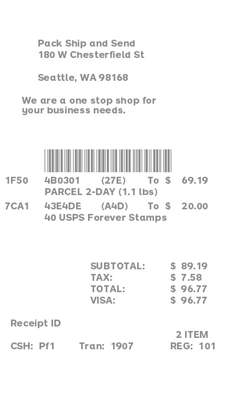 Shipping Store Receipt